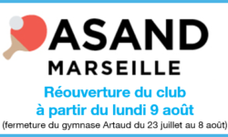 Réouverture du club lundi 9 août